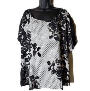 Dressy Torrid Black and White Floral Blouse Size 0